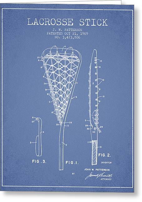 Lacrosse Stick Patent From 1970 -  Light Blue Greeting Card