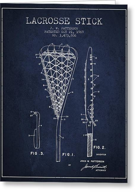 Lacrosse Stick Patent From 1970 -  Navy Blue Greeting Card by Aged Pixel