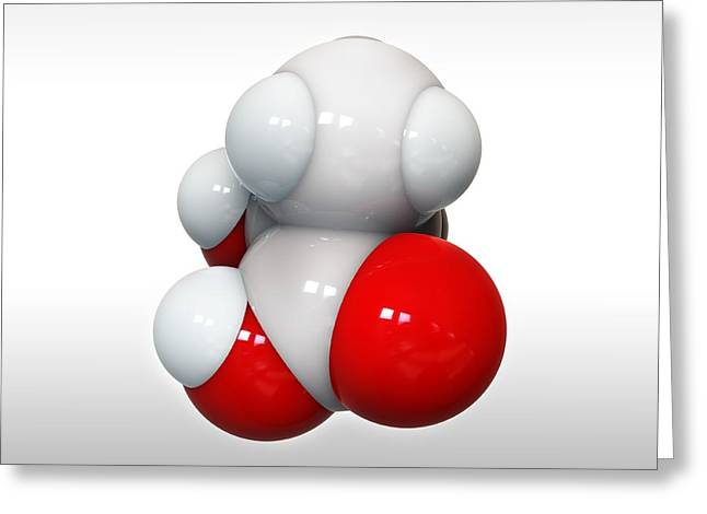 Lactic Acid, Molecular Model Greeting Card by Science Photo Library