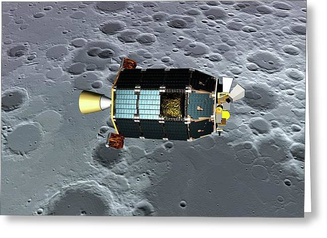 Ladee Spacecraft Over The Moon Greeting Card