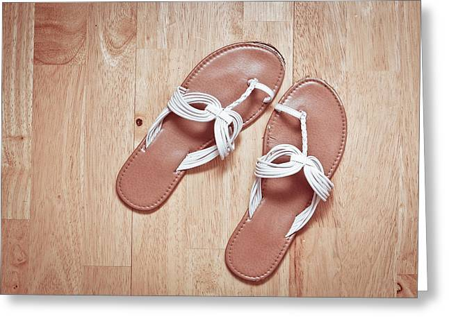 Ladies' Sandals Greeting Card by Tom Gowanlock
