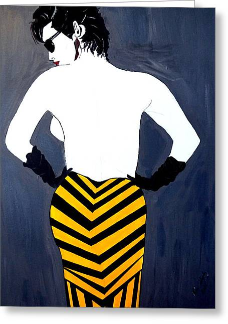 Greeting Card featuring the painting Lady In Stripes by Nora Shepley