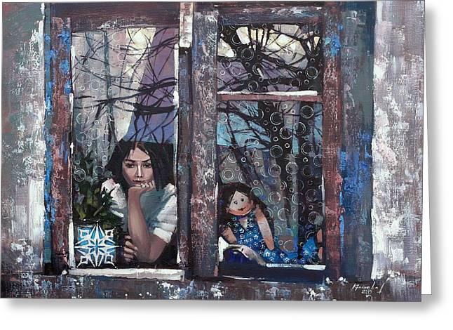 Greeting Card featuring the painting lady Winter by Anastasija Kraineva