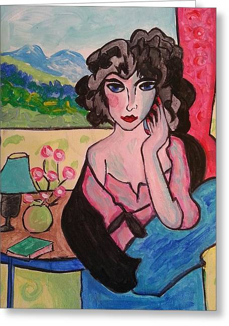 Lady With A View Greeting Card