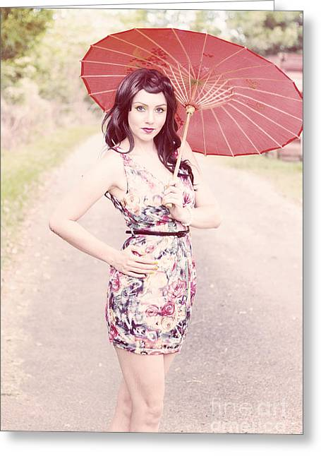 Lady With Red Parasol Greeting Card by Jorgo Photography - Wall Art Gallery