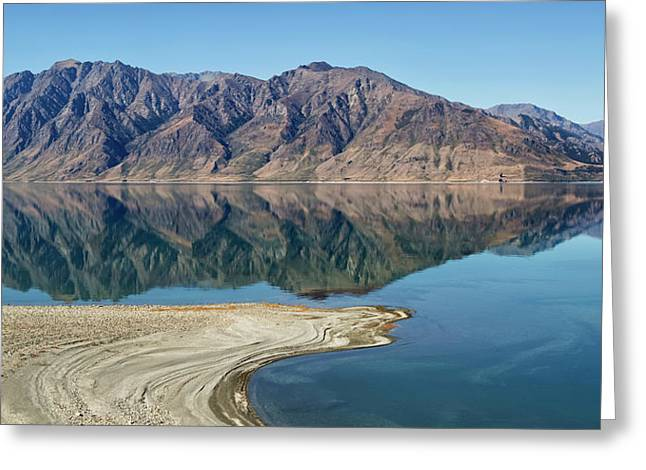 Lake Hawea With Reflections Greeting Card by Nicola M Mora