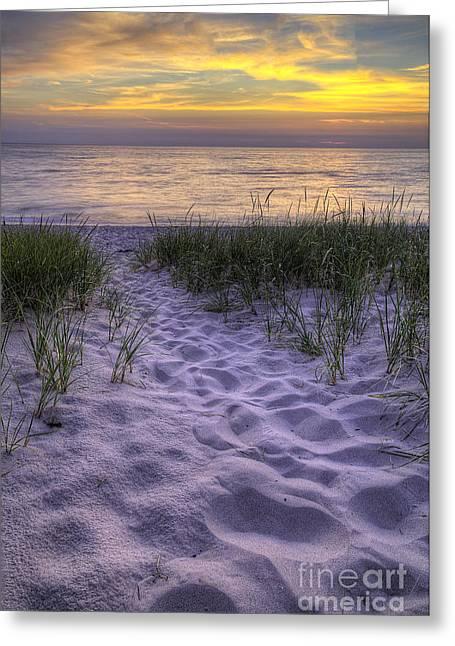Lake Michigan Sunset Greeting Card by Twenty Two North Photography