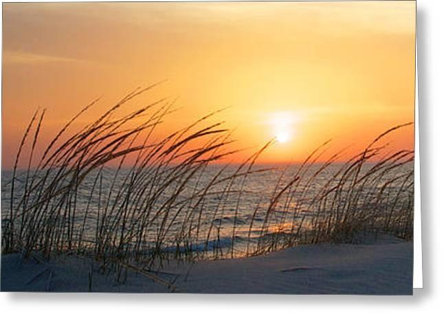 Lake Michigan Sunset Panorama Greeting Card