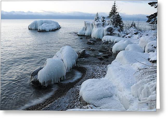 Lake Superior Blues Greeting Card by Sandra Updyke