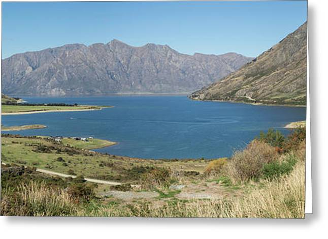 Lake Surrounded By Mountains, Lake Greeting Card