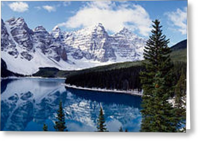 Lake With Snow Covered Mountains Greeting Card by Panoramic Images