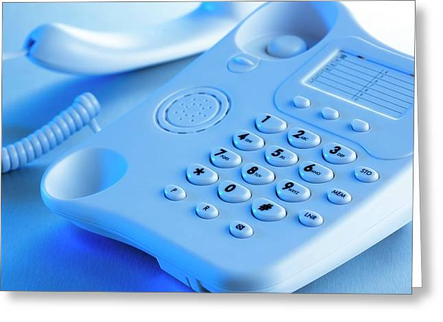 Landline Telephone Greeting Card by Science Photo Library