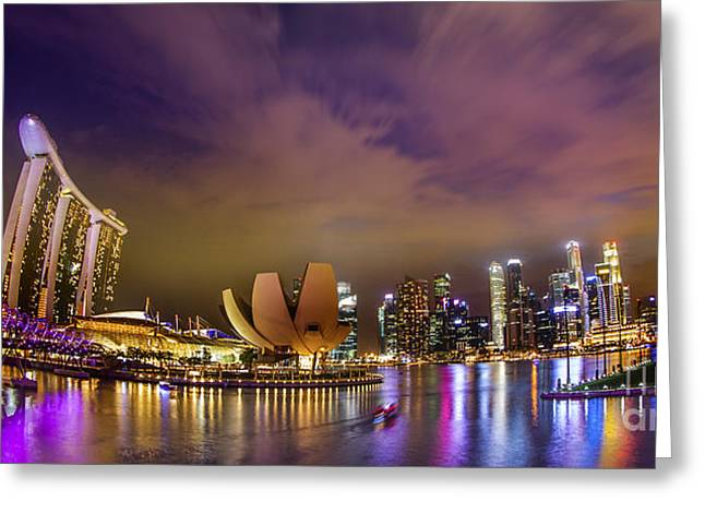 Landscaoe Of Singapore Business District  Greeting Card