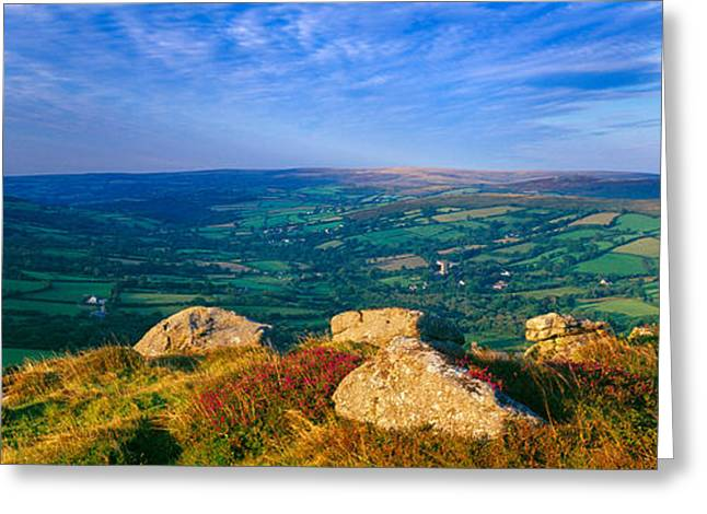 Landscape Viewed From Honeybag Tor Greeting Card by Panoramic Images