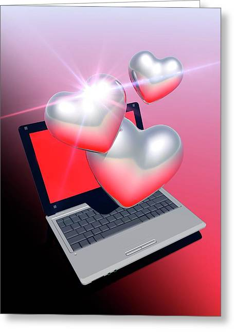 Laptop And Hearts Greeting Card