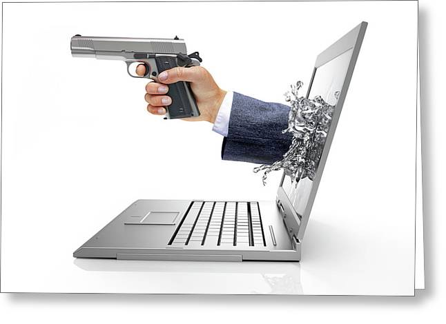 Laptop With Hand And Gun Greeting Card