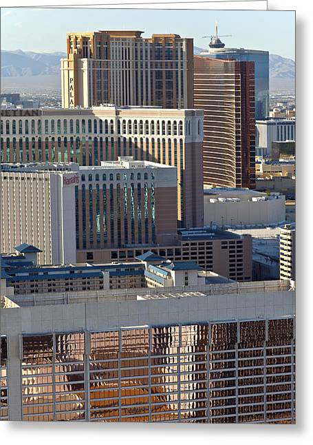 Las Vegas Casino Architecture And Rooftops. Greeting Card by Gino Rigucci