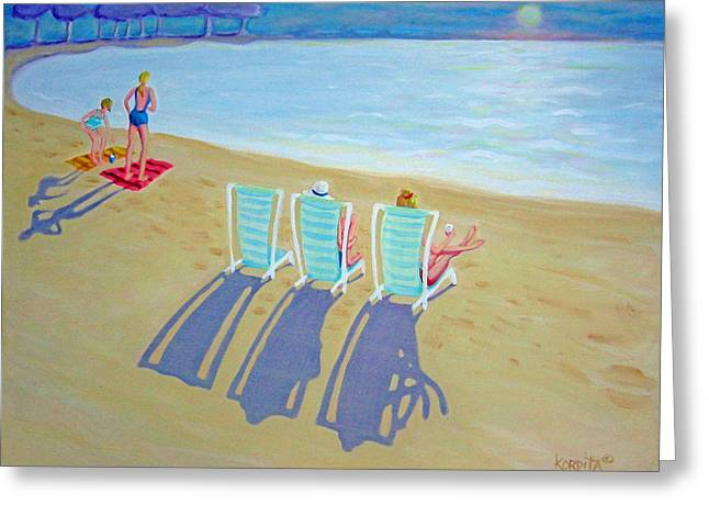 Sunset On Beach - Last Rays Greeting Card by Rebecca Korpita