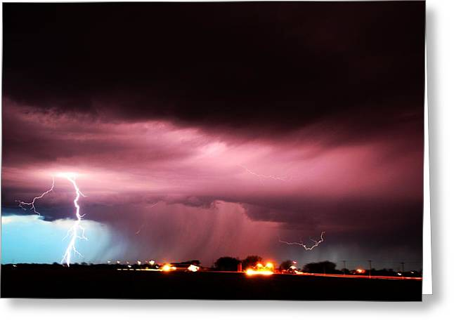 Greeting Card featuring the photograph Late Evening Nebraska Thunderstorm by NebraskaSC