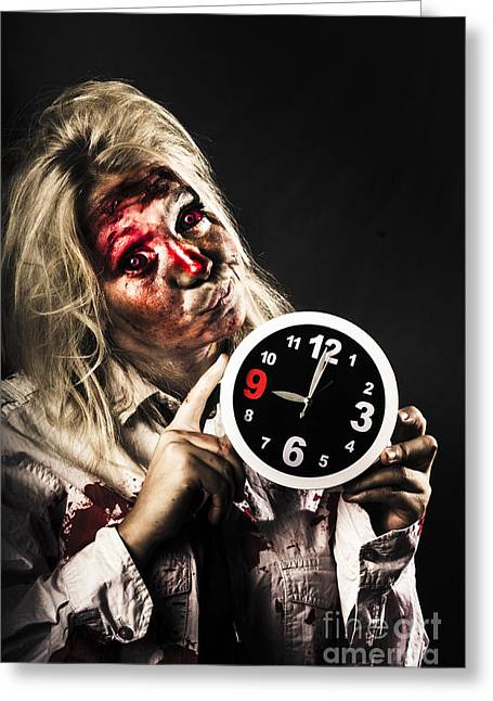 Late Zombie Woman Holding Clock. Passing Time Greeting Card by Jorgo Photography - Wall Art Gallery