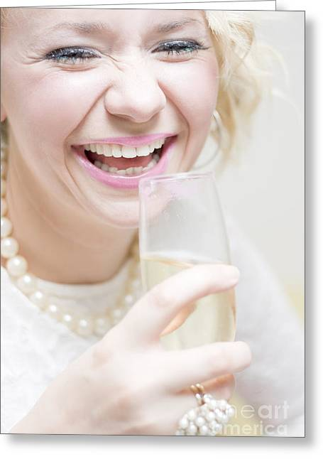 Laughing Young Woman At Party Greeting Card by Jorgo Photography - Wall Art Gallery