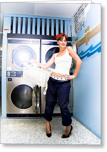 Laundry Mat Woman Greeting Card by Jorgo Photography - Wall Art Gallery