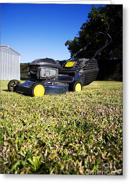 Lawn Mower Greeting Card by Jorgo Photography - Wall Art Gallery