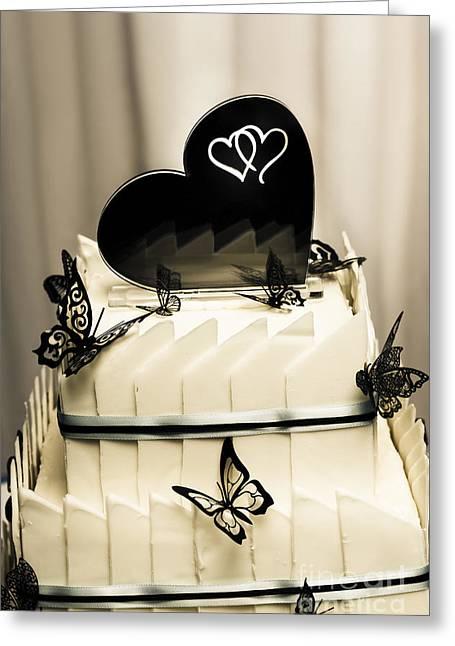 Layered White Wedding Cake With Chocolate Detail Greeting Card
