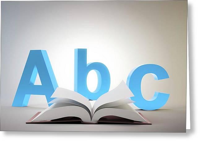 Learning The Alphabet Greeting Card by Andrzej Wojcicki