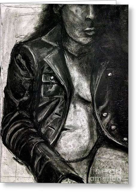 Leather Jacket Greeting Card by Gabrielle Wilson-Sealy