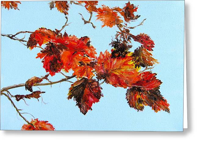Leaves Against The Sky Greeting Card by Diane Kraudelt