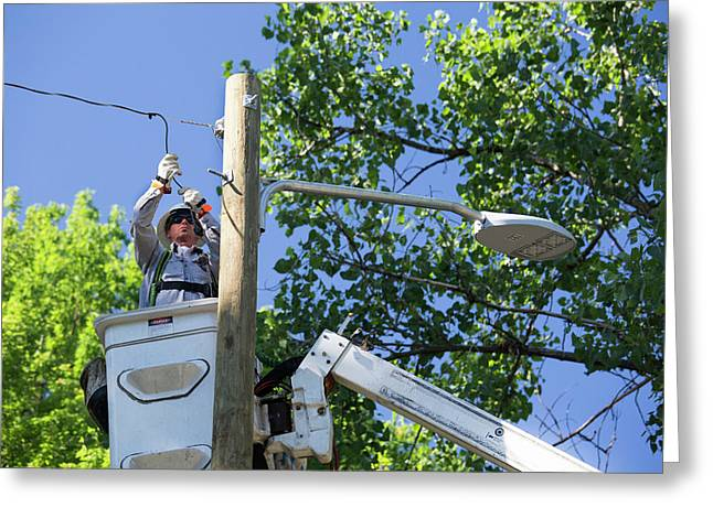 Led Street Light Installation Greeting Card