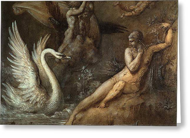 Leda And The Swan Greeting Card by Gustave Moreau