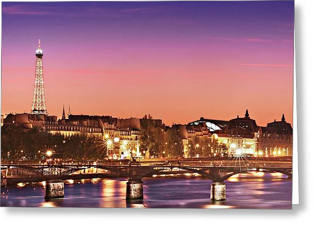 Left Bank At Night / Paris Greeting Card