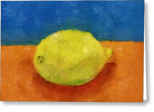 Lemon With Blue And Orange Greeting Card by Michelle Calkins
