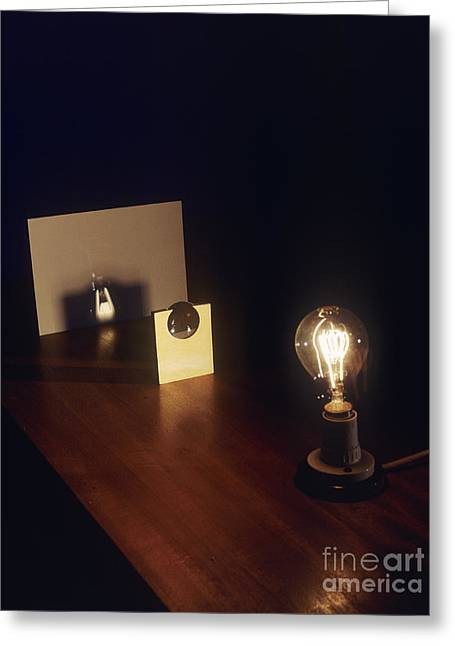 Lens Forming Image Of Lamp Greeting Card by Andrew Lambert Photography
