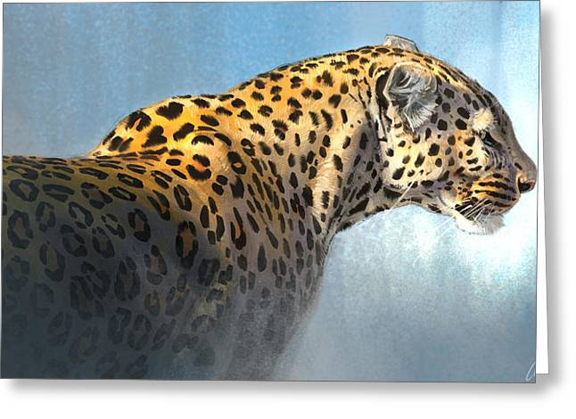 Leopard Greeting Card by Aaron Blaise
