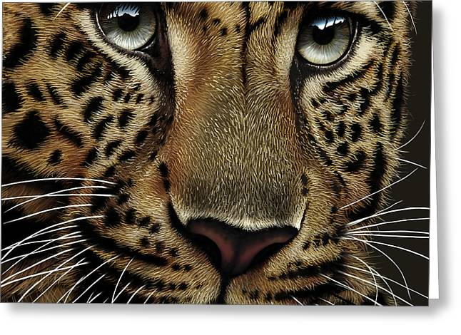 Leopard Greeting Card by Jurek Zamoyski