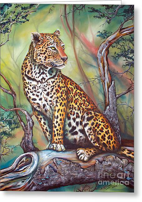 Leopard Greeting Card by Nicole O'Connor