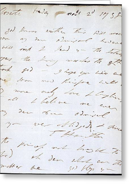 Letter Of Lady Hamilton Greeting Card