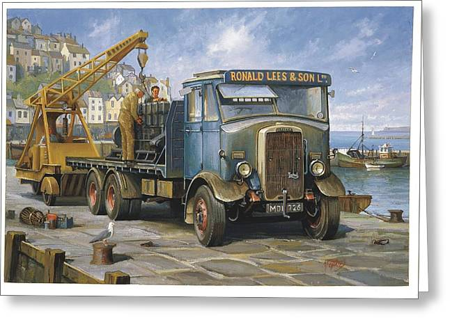 Leyland Hippo At Brixham. Greeting Card by Mike  Jeffries