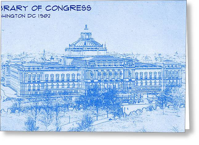 Library Of Congress Washington Dc 1902 Blueprint Greeting Card by MotionAge Designs