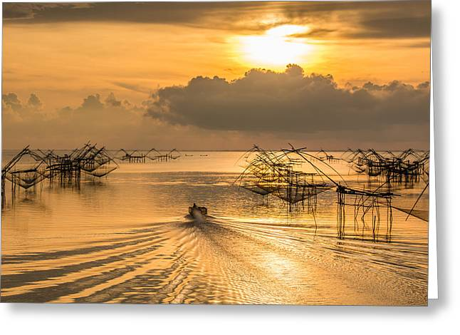 Life Asian Fisherman  Greeting Card by Sihasak Prachum