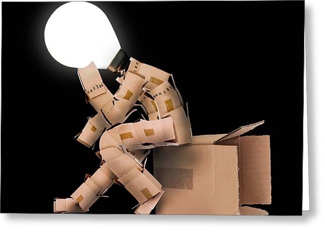 Light Bulb Box Man Character Greeting Card