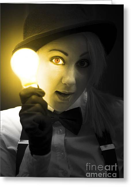 Light Bulb Lady Greeting Card by Jorgo Photography - Wall Art Gallery