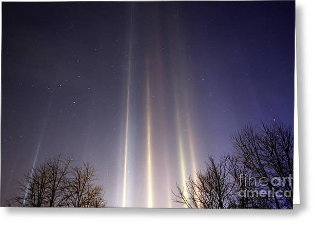 Light Pillars And Cassiopeia Greeting Card by Thomas R Fletcher