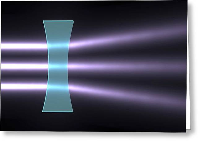 Light Refraction With Biconcave Lens Greeting Card by Russell Kightley