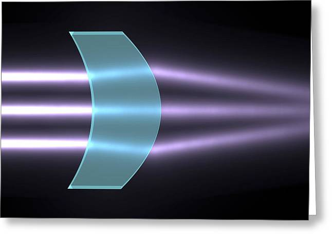 Light Refraction With Convex-concave Lens Greeting Card