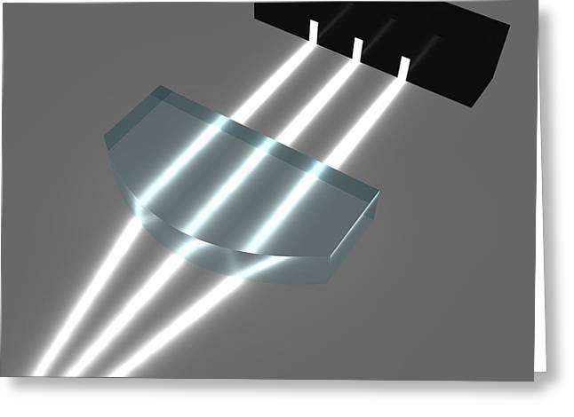 Light Refraction With Plano-convex Lens Greeting Card