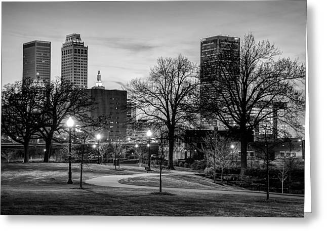 Lighted Walkway To The Tulsa Oklahoma Skyline - Black And White Greeting Card by Gregory Ballos